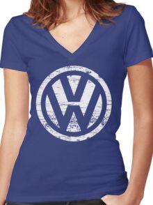 VW Volkswagen Logo Women's Fitted V-Neck T-Shirt