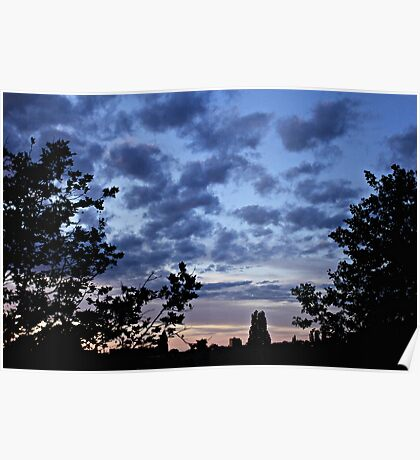 Summer Solstice sunset silhouettes Poster