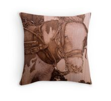 'Compliance', a Pyrography picture of a harnessed donkey Throw Pillow