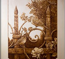 'Iron Fence with Sparrows' Pyrography on hoop pine ply by DavidStanley