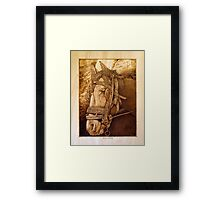 'Horse at Petra' Pyrography on hoop pine ply Framed Print
