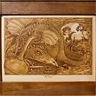 'The Hoard' a dragon in lair, framed pyrography by DavidStanley