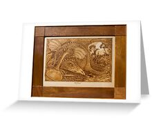 'The Hoard' a dragon in lair, framed pyrography Greeting Card
