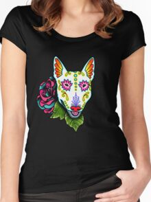 Day of the Dead Bull Terrier Sugar Skull Dog Women's Fitted Scoop T-Shirt