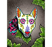 Day of the Dead Bull Terrier Sugar Skull Dog Photographic Print