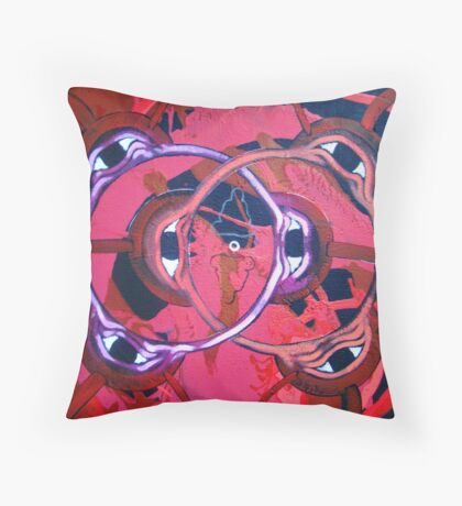 """ Peace and Happiness -Contemporary Eye and Kanji Art "" Throw Pillow"