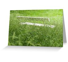 Bench in City Park Obscured by Grass Greeting Card