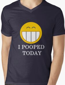 I pooped today smiley face Mens V-Neck T-Shirt
