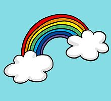 Colorful rainbow in white clouds by CuteCartoon