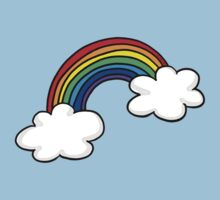 Colorful rainbow in white clouds Kids Clothes