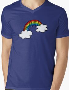Colorful rainbow in white clouds Mens V-Neck T-Shirt