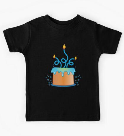 Blue twirly fancy birthday cake Kids Tee