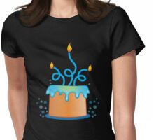 Blue twirly fancy birthday cake Womens Fitted T-Shirt