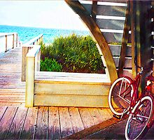 bike on ocean boardwalk by jashumbert