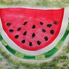 A slice of watermelon, watercolor by Anna  Lewis