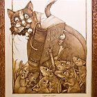 'Eager to Learn' pyrography, a cat teaching mice by DavidStanley