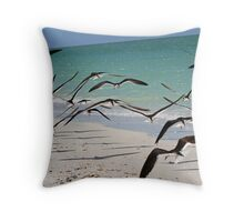 A flock of skimmers in flight Throw Pillow