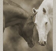 Horses Greeting in the Fog by Ginny Luttrell