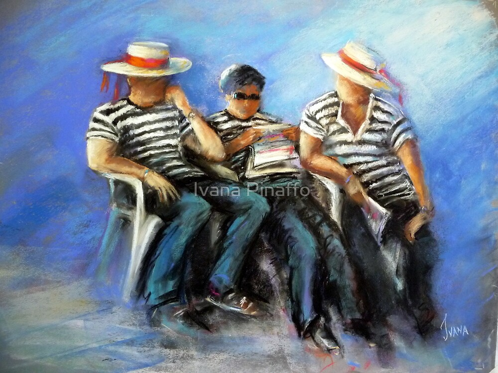 Gondoliers at rest by Ivana Pinaffo