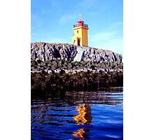 Lighthouse on small island near Flatey  Photographic Print