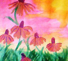 Daisys enjoying a warm dawn, watercolor by Anna  Lewis