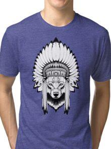 Indian Wolf Headdress Tri-blend T-Shirt