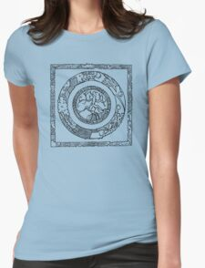 Wheel and Square Design Womens Fitted T-Shirt