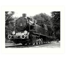 Locomotive stands on the station ... Art Print