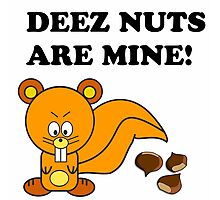 DEEZ NUTS ARE MINE SQUIRREL FUNNY Photographic Print
