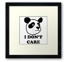 I don't care funny panda Framed Print
