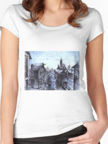 Wooden town on the chilly lake Women's Fitted Scoop T-Shirt