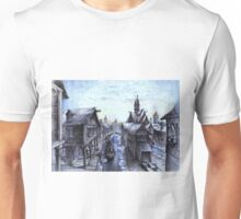 Wooden town on the chilly lake Unisex T-Shirt