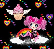 Kawaii Girl PinkyP Rainbows and Cupcakes by LeahG by Cartoonistlg
