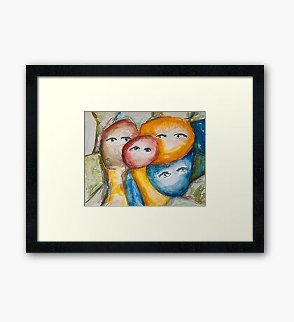 Faces watching Framed Print