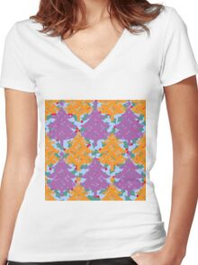 Christmas Holly Tree Women's Fitted V-Neck T-Shirt