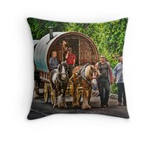 On the way to the Horse Fair Throw Pillow