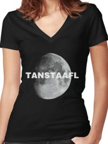 TANSTAAFL & Moon Women's Fitted V-Neck T-Shirt