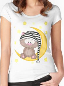 Cat moon dream Women's Fitted Scoop T-Shirt
