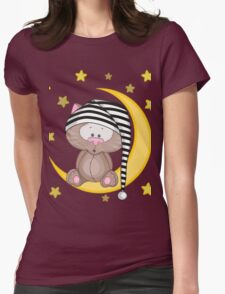 Cat moon dream Womens Fitted T-Shirt