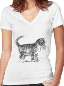Art cat Women's Fitted V-Neck T-Shirt