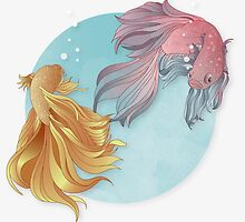 Siamese fighting fishes by MrNicekat