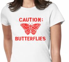 Caution: Butterflies Womens Fitted T-Shirt