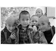 shaving day. buddhist monastery, india Poster