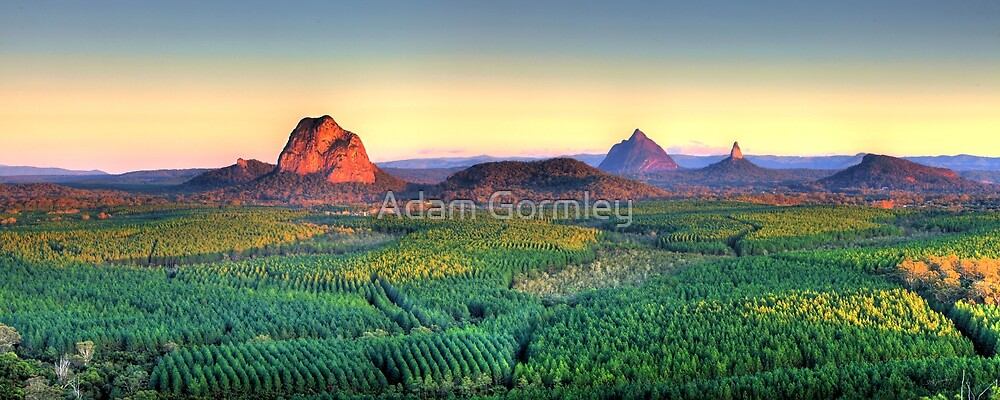 Glasshouse Mountain Panoramic by Adam Gormley