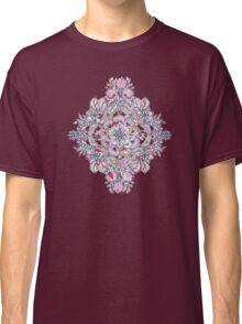 Floral Diamond Doodle in Red and Pink Classic T-Shirt