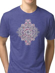 Floral Diamond Doodle in Red and Pink Tri-blend T-Shirt