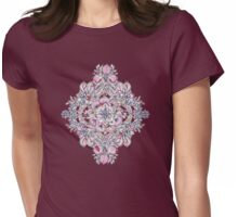 Floral Diamond Doodle in Red and Pink Womens Fitted T-Shirt