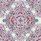 Floral Diamond Doodle in Red and Pink by micklyn