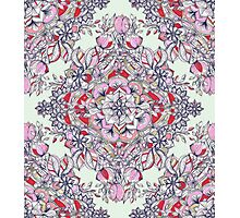 Floral Diamond Doodle in Red and Pink Photographic Print