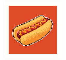Pixel Hot Dog Art Print
